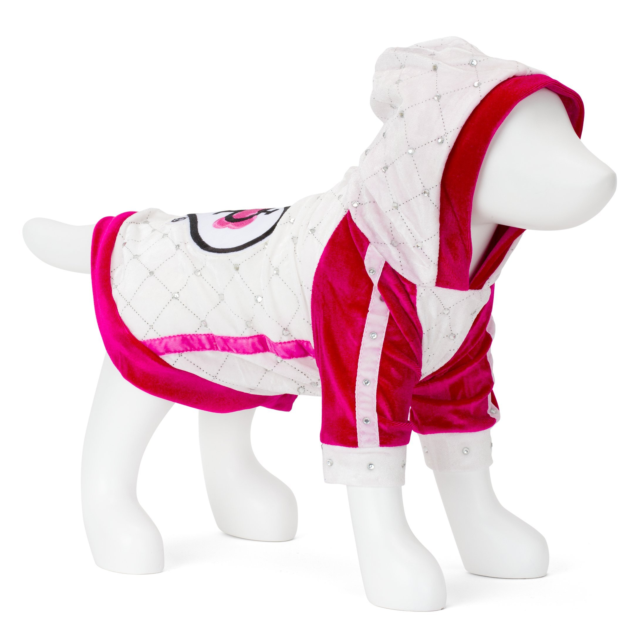 F&R FOR VP PETS HOODIE WITH HEART PATCH - WHITE/PINK - MEDIU