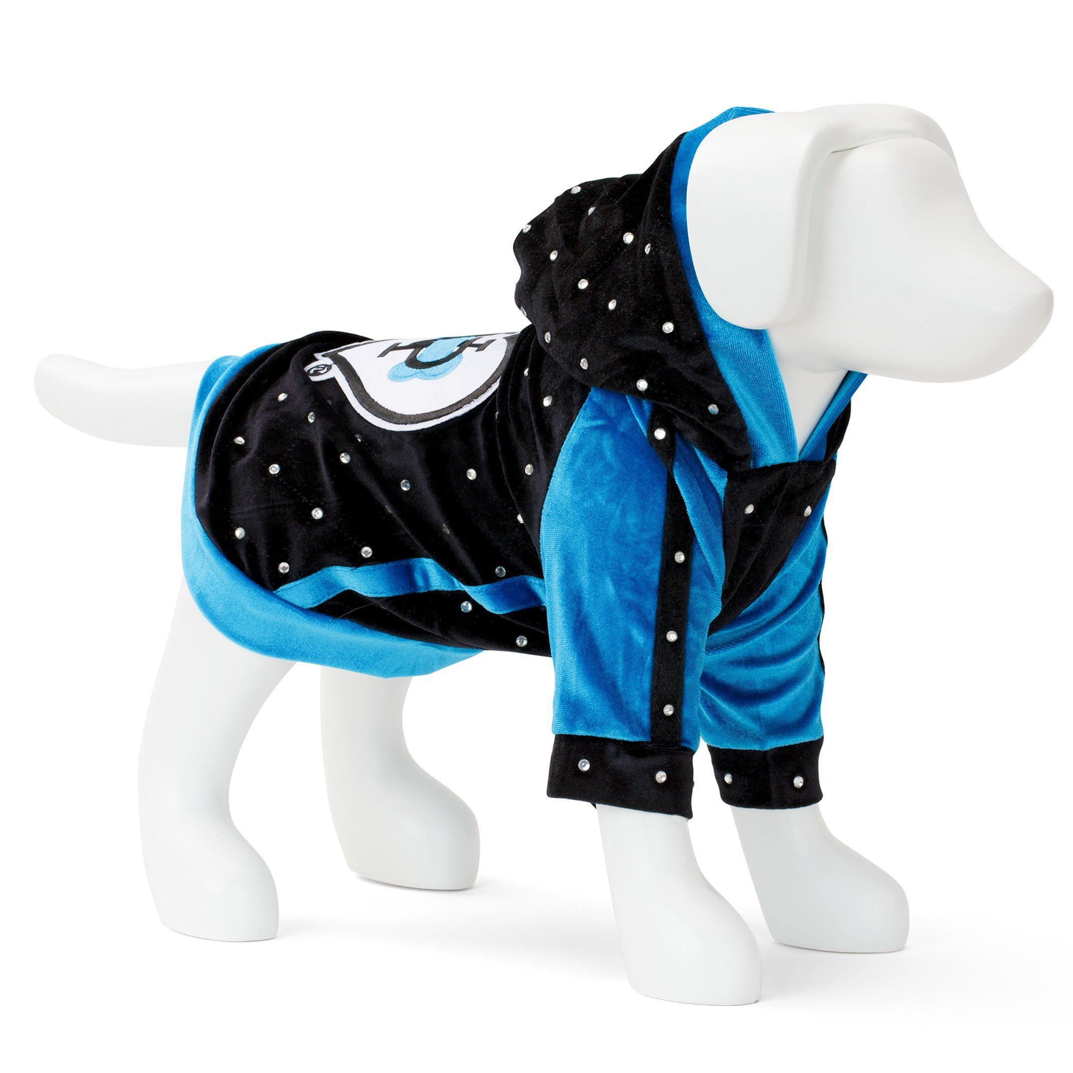 F&R FOR VP PETS HOODIE WITH HEART PATCH - BLACK/BLUE - SMALL