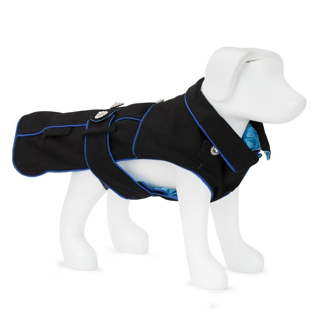 F&R FOR VP PETS 5TH AVENUE COAT - BLACK/BLUE - SMA
