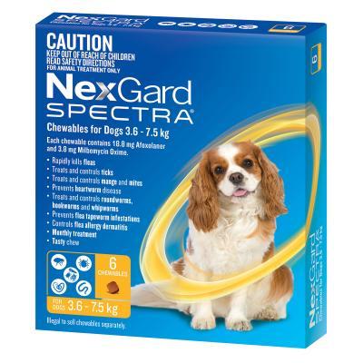 NexGard SPECTRA SMALL DOGS (3.6-7.5KG) YELLOW