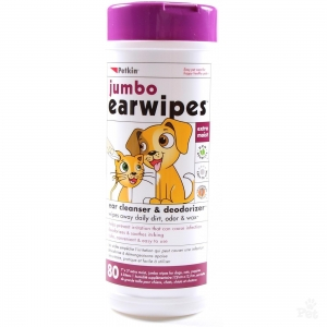 Petkin Jumbo Ear Wipes - 80pk
