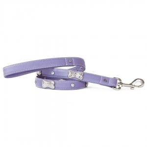 VP Pets Designer Diamond and Bone Leatherette Leash - SM - Violet
