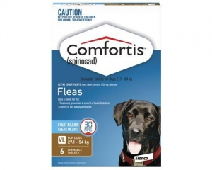 Comfortis Chewable Tablets For Dogs 27.1-54kg 6s Brown