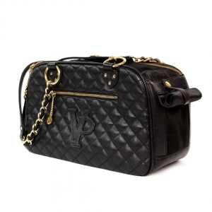 Vanderpump Classic Quilted Luxury Pet Carrier with chain- Black