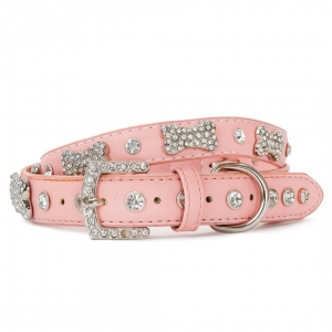 VP Pets Designer Diamond and Bone Leatherette Collar - MD - Pink