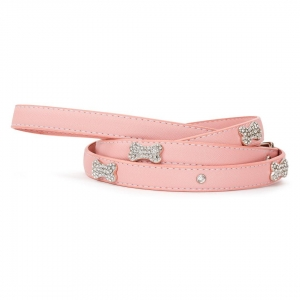 VP Pets Designer Diamond and Bone Leatherette Leash - SM - Pink