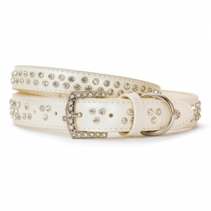 VP Pets Diamond Choker Leatherette Collar - LG - White