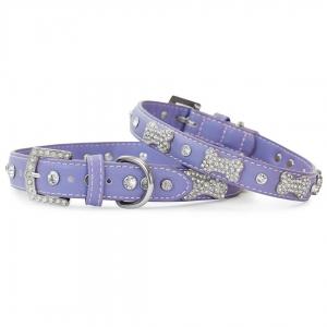 VP Pets Designer Diamond and Bone Leatherette Collar - SM - Violet
