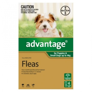 Advantage For Puppies & Small Dogs Up To 4Kg 4 Pack