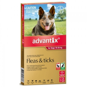 Advantix For Dogs 10-25Kg Red 3 Pack