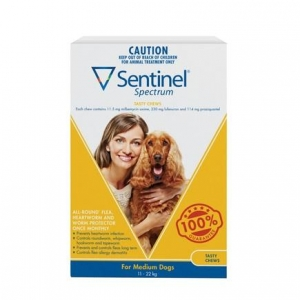 Sentinel Spectrum Chews For Dogs 12-22Kg Yellow 3 Pack