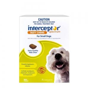 Interceptor Spectrum Chews For Dogs 4-11Kg Green 6 Pack