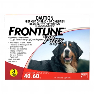 Frontline Plus For Dogs 40-60Kg Red 3 Pack