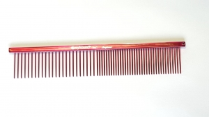 "AC Beauty 7.5"" Medium Coarse/Fine Comb Raspberry"