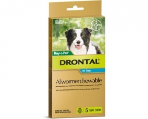 Drontal All Wormer Chews For Dogs 10kg 5 Pack