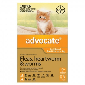 Advocate For Kittens & small Cats Up To 4Kg Orange 3 Pack