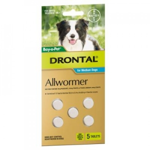 Drontal Bay-O-Pet Med/Dog 5Tab