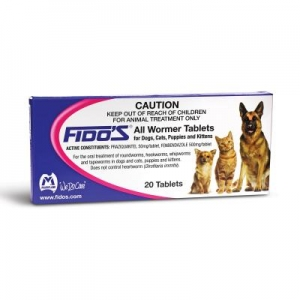 Fidos all Wormer Tablets Dogs, Cats, Kittens and Puppies 20pk