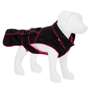 F&R FOR VP PETS 5TH AVENUE COAT - BLACK/PINK - MED