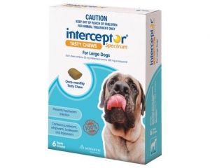 Interceptor Spectrum Chews For Dogs 23-45Kg White 6's