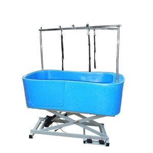 Durable Lifting Dog Tub With Paw Prints Blue H-112