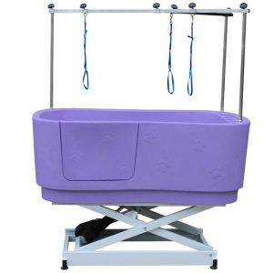 Durable Lifting Dog Tub With Paw Prints Purple H-112