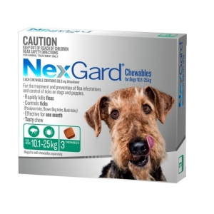 NexGard for Medium Dogs 10.1-25kg Green 3s