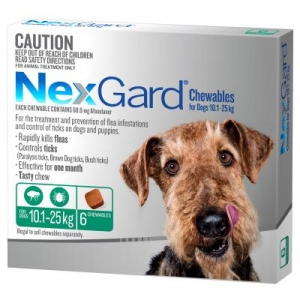 NexGard for Medium Dogs 10.1-25kg Green 6s