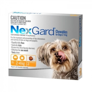 NexGard for Very Small Dogs 2-4kg Orange 3s