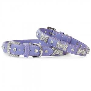 VP Pets Designer Diamond and Bone Leatherette Collar - LG - Violet