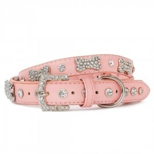 VP Pets Designer Diamond and Bone Leatherette Collar - MD - Pink