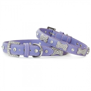 VP Pets Designer Diamond and Bone Leatherette Collar - MD - Violet