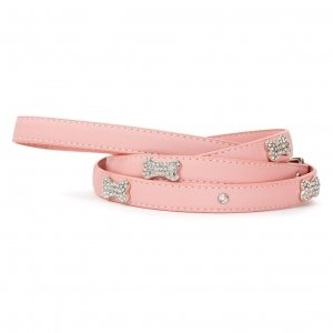 VP Pets Designer Diamond and Bone Leatherette Leash - SM - Pink