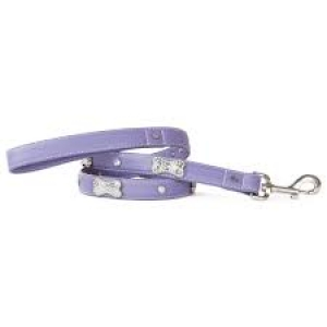 VP PETS DIAMOND AND BONE LEATHERETTE LEASH - VIOLET - Small
