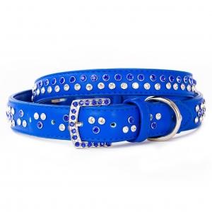 VP Pets Diamond Choker Leatherette Collar - MD - Blue
