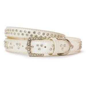 VP Pets Diamond Choker Leatherette Collar - MD - White