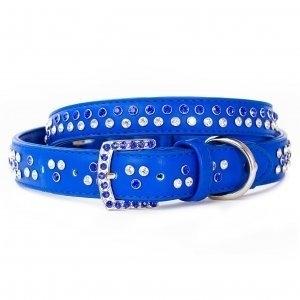 VP Pets Diamond Choker Leatherette Collar - XS - Blue
