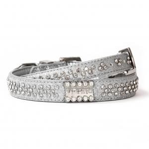 VP Pets Signature Diamond Name Plate Leatherette Collar - LG - Silver