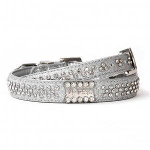 VP Pets Signature Diamond Name Plate Leatherette Collar - XS - Silver