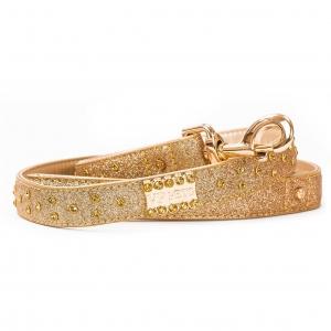 VP Pets Signature Diamond Name Plate Leatherette Leash - LG - Gold