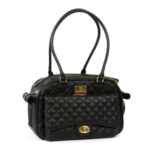 VP CLASSIC QUILTED LUXURY PET CARRIER WITH CHAIN - BLACK