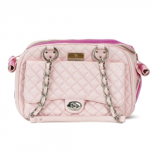 VP CLASSIC QUILTED LUXURY PET CARRIER WITH CHAIN - PINK