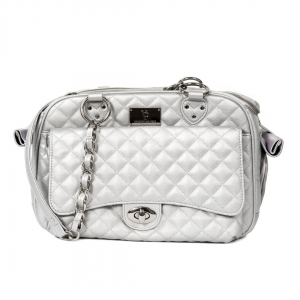 VP CLASSIC QUILTED LUXURY PET CARRIER WITH CHAIN - SILVER